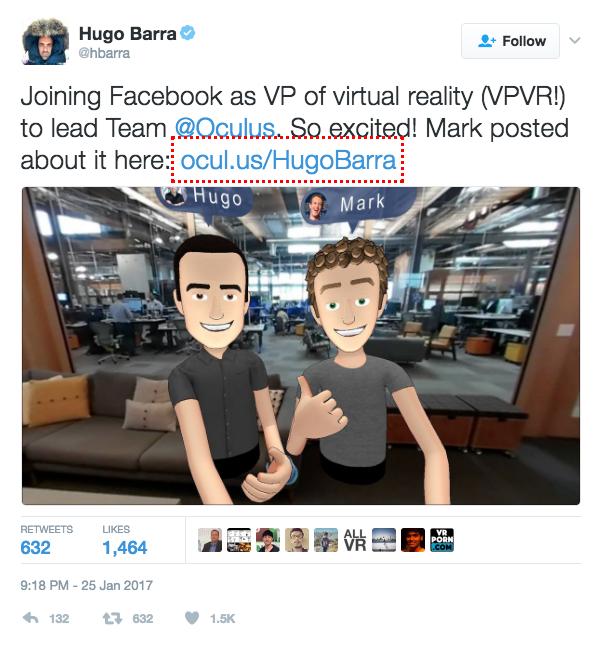 hugo barra makes the announcement as vp at facebook oculus