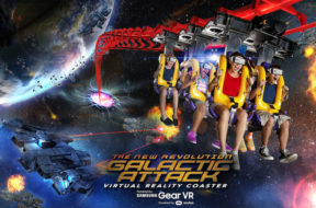 Galactic Attack virtual reality coaster