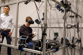 mark zuckerberg tests out hand tracking vr gloves