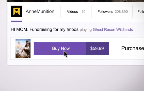 twitch video game purchase button