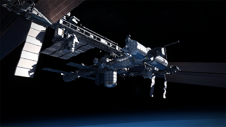 iss space station in vr