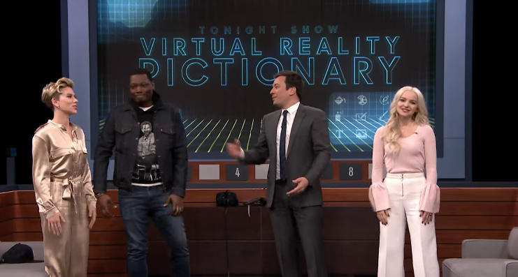 Jimmy Fallon Releases A New Edition Of Virtual Reality Pictionary Ft. Scarlett Johansson, Micahel Che, And Dove Cameron