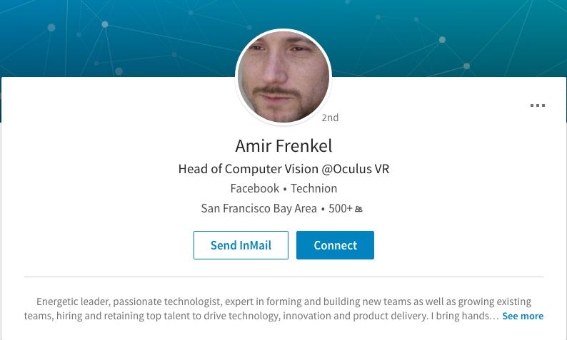 Amir Frenkel is Now Head of Computer Vision at Oculus