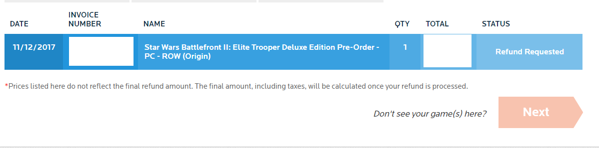 star wars battlefront ii refund