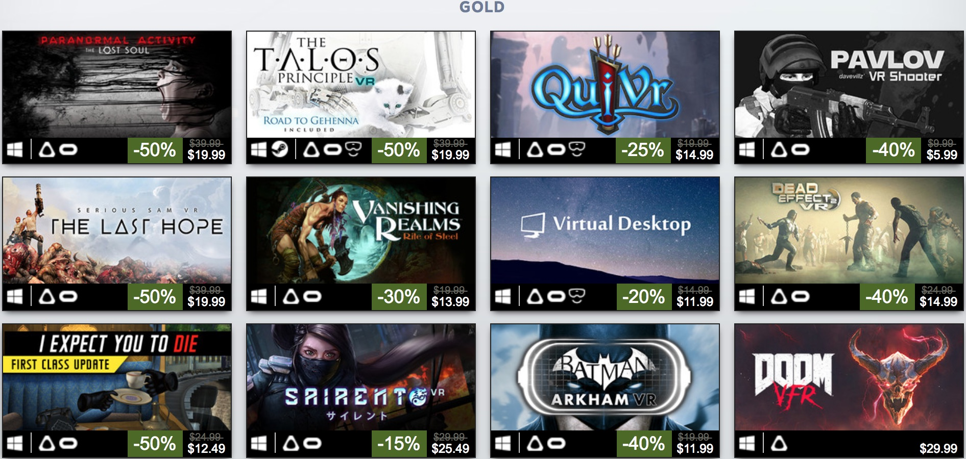 gold vr games on steam