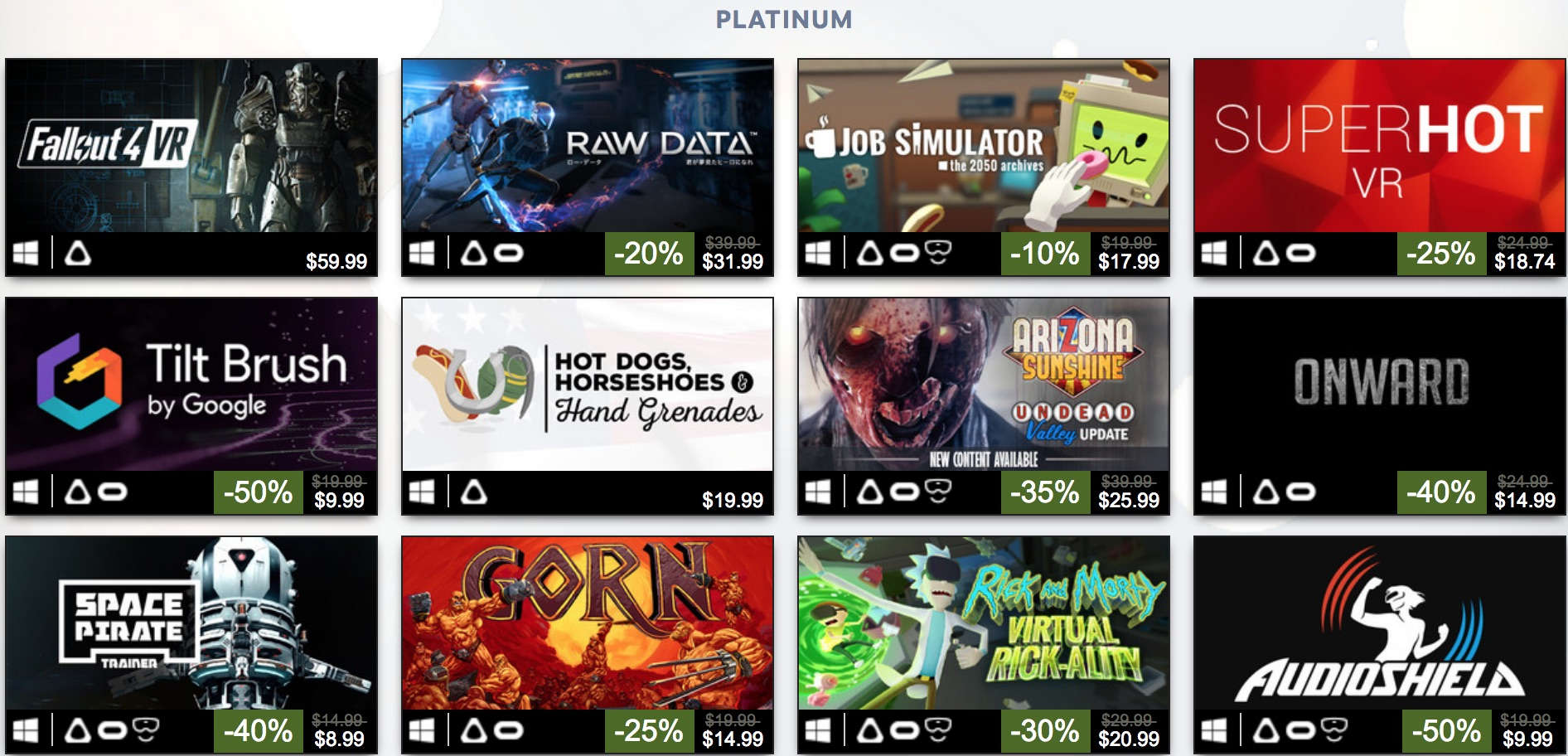 platinum vr games on steam