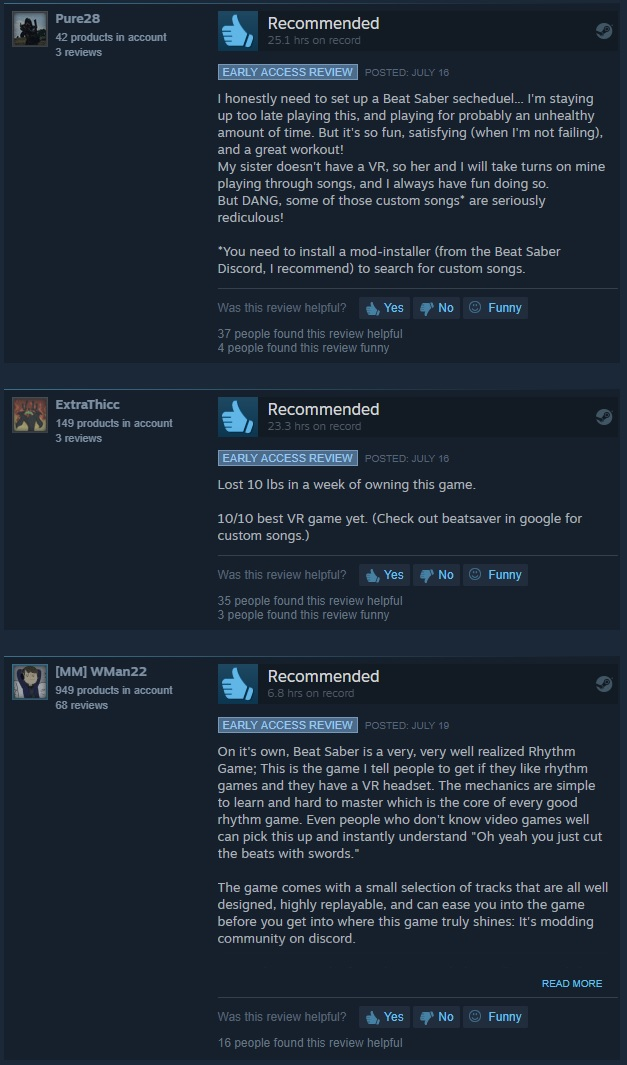 steam vr game reviews