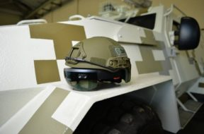microsoft hololens on military helmet