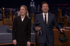 brie larson jimmy fallon playing beat saber vr