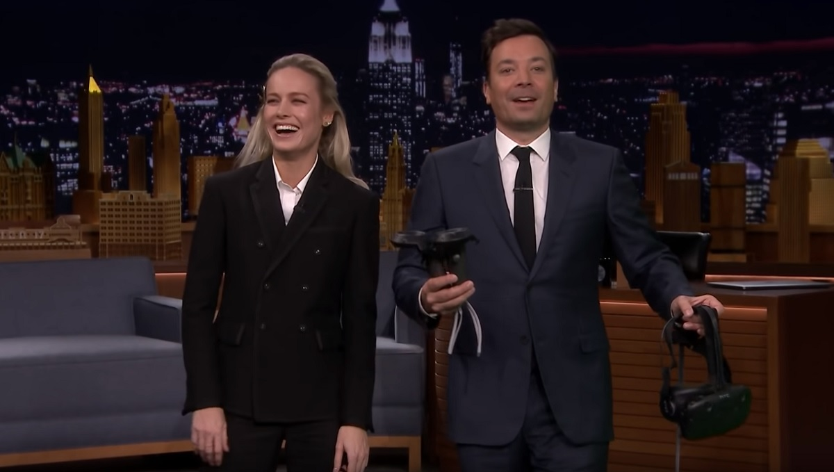 Check Out Captain Marvel's Brie Larson And Jimmy Fallon Playing Beat Saber